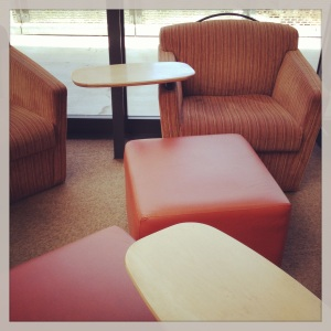 Many #si13 discussions take place on these #orange chairs and cubes.