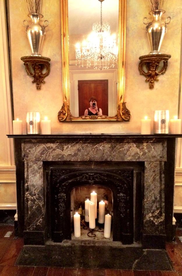 fireplace selfie