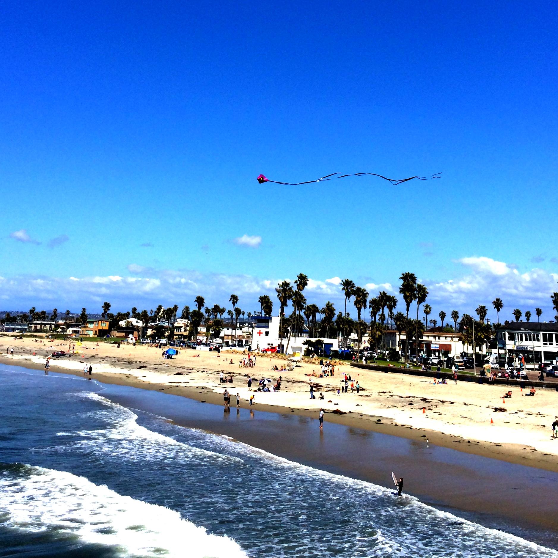 kite above ocean beach