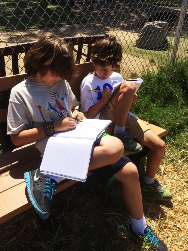 boys writing in the garden