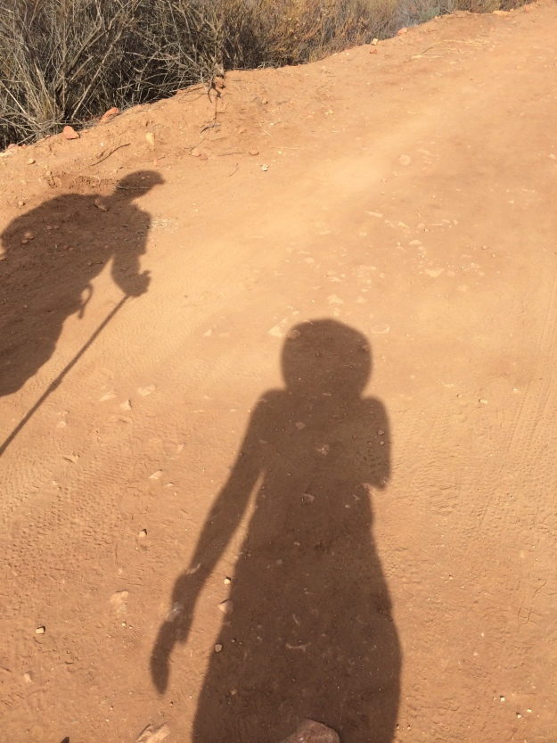 Shadow selfie hiking