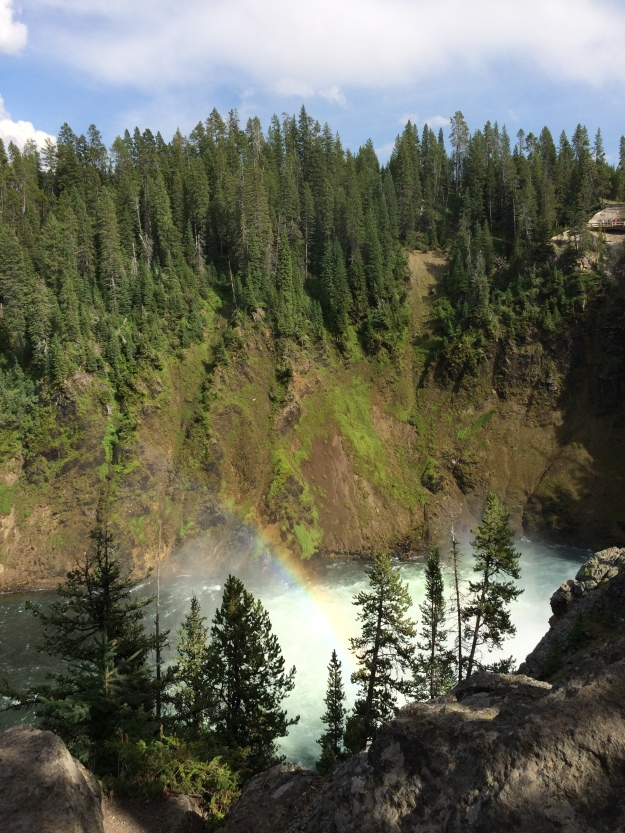 Rainbow over canyon falls