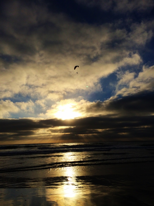 sunset hang glider