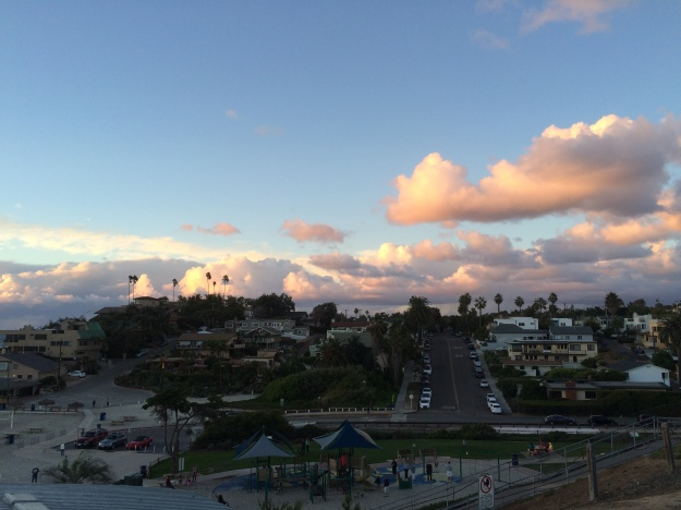 beachside clouds at sunset