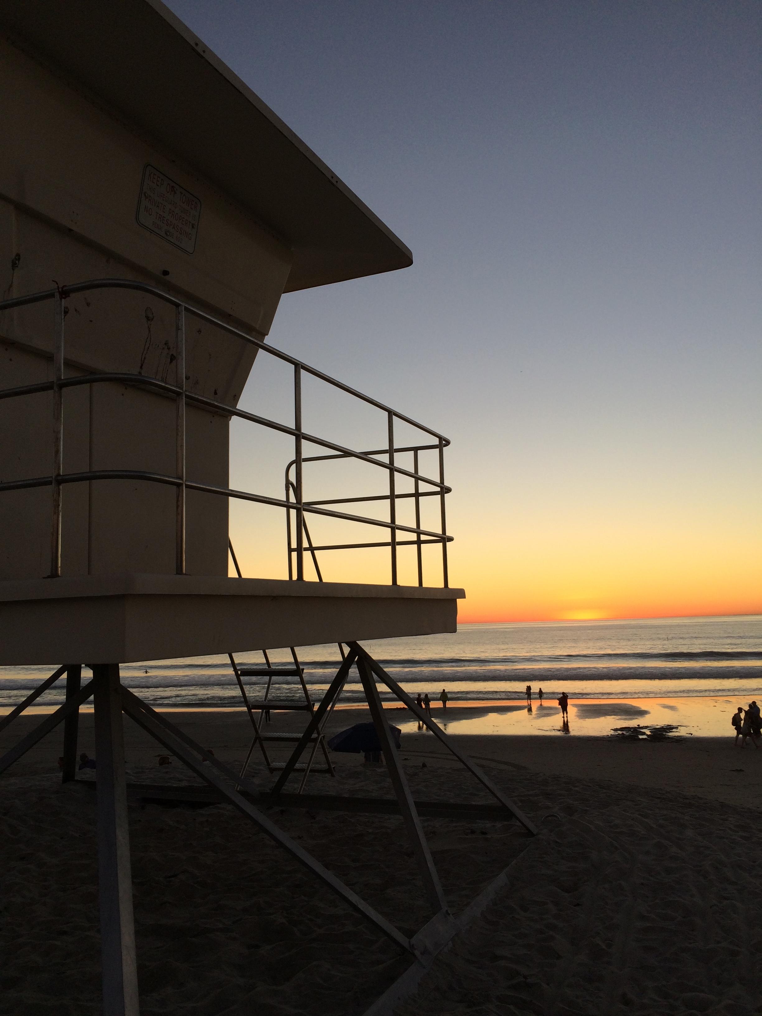 lifeguard tower sunset