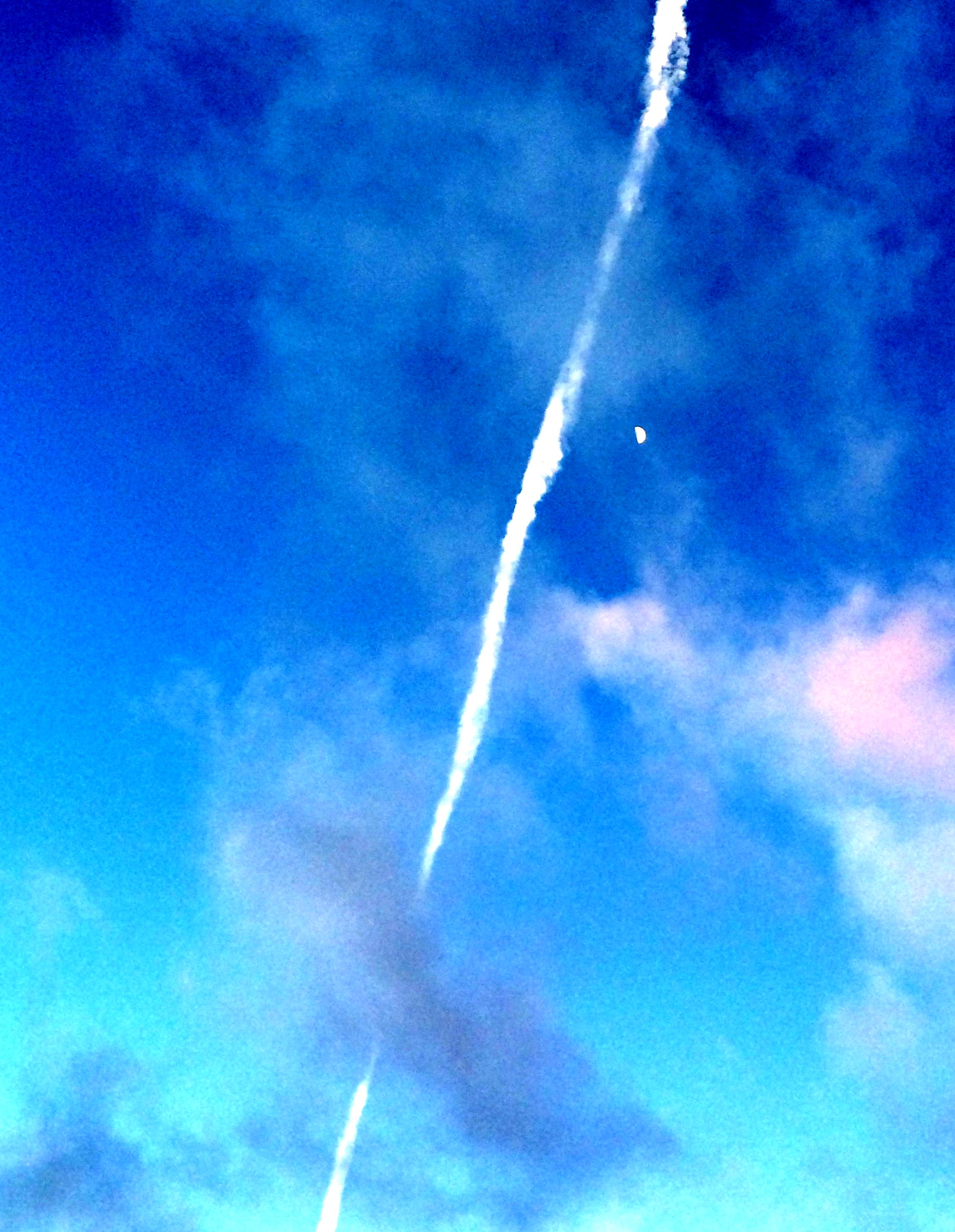 contrail and moon