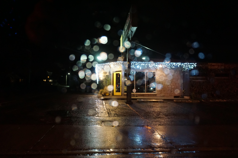 coffee shop through raindrops