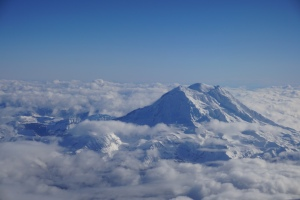 Mount Rainier in clouds