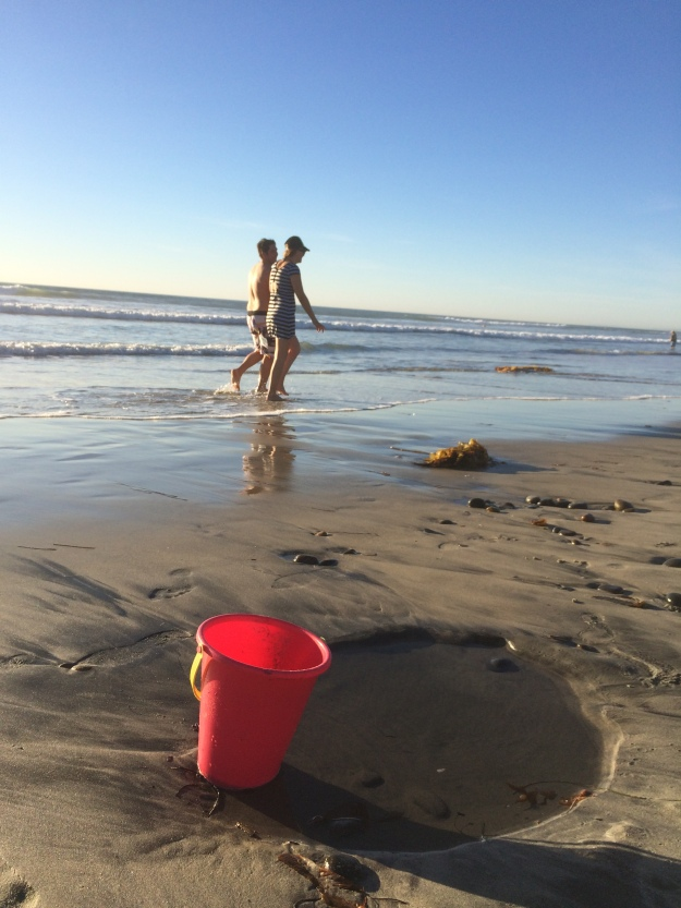 spirited-bucket at the beach