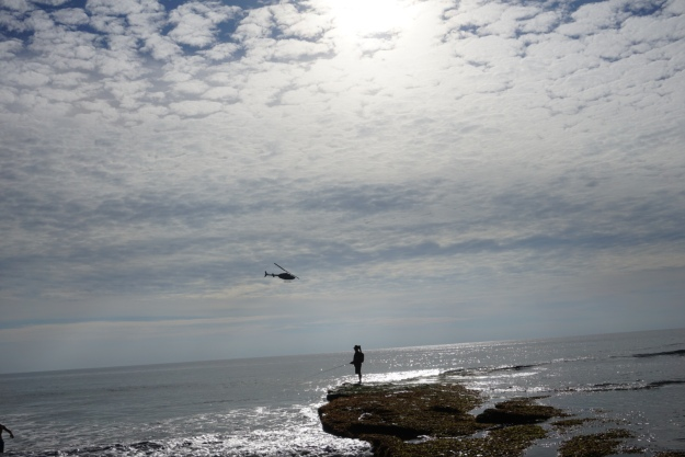 fisherman and helicopter